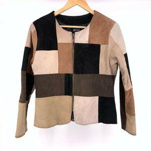 Karen Arnold Leather Patchwork Full Zip Jacket